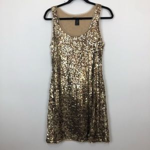 Inc sequin sparkle mini gold cocktail dress medium